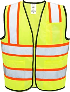Neiko 53990A High Visibility Safety Vest with 3 Pockets and Zipper, Neon Yellow | Size L