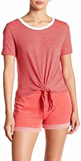 Alternative Women's Striped Red Size XS Tie-Front Tee T-Shirt Knit Top
