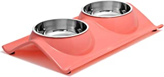 UPSKY Double Dog Cat Bowls Premium Stainless Steel Pet Bowls No-Spill Resin Station, Food Water Feeder Cats Small Dogs