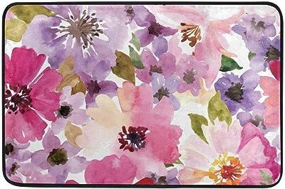 Not Slip Doormats Rugs Watercolor Spring Floral Soft Foam Printing for Living Room Kids Bedroom Bathroom Door Mats