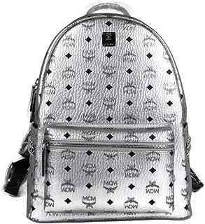 MCM Unisex Silver Coated Canvas Studded Medium Backpack MMK9SVE42SB001