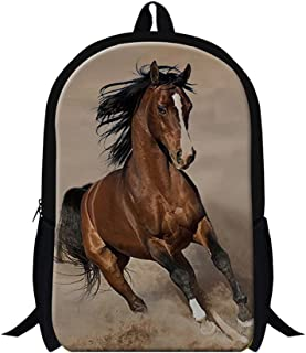 GIVE ME BAG Generic Plush Horse Printing School Backpack for Students Mens Fashion Hiking Bags