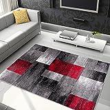 Tapiso Jawa Alfombra Salón Comedor Dormitorio Diseño Moderno Rojo Gris Rayas Moteada Pelo Denso Frise 140 x 190 cm