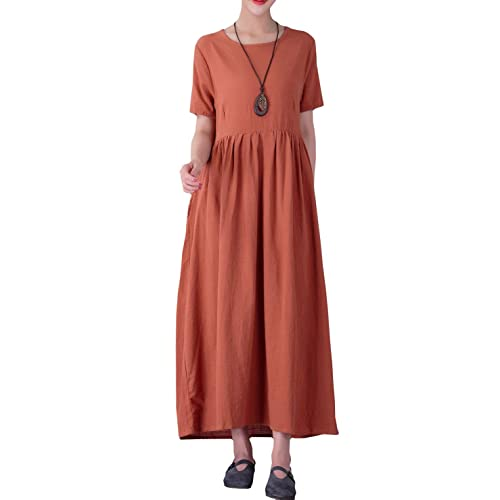 7ca057ea77d7 YUHEYUHE Women's Casual Loose Long Soft Tunics Summer Cotton Linen Maxi  Dresses Two Pockets