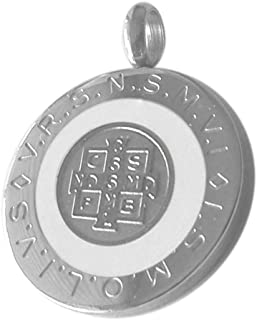 Catholic - 28 MM Round Saint Benedict Medal White Blue or Black Color - 1.1 Inches Diam