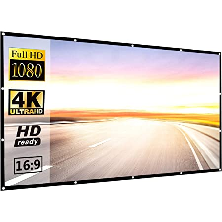 Projector Screen 120 inch, P-JING Projection Movies Screen 16:9 HD Foldable Anti-Crease Portable for Home Theater Outdoor Indoor Support Double Sided