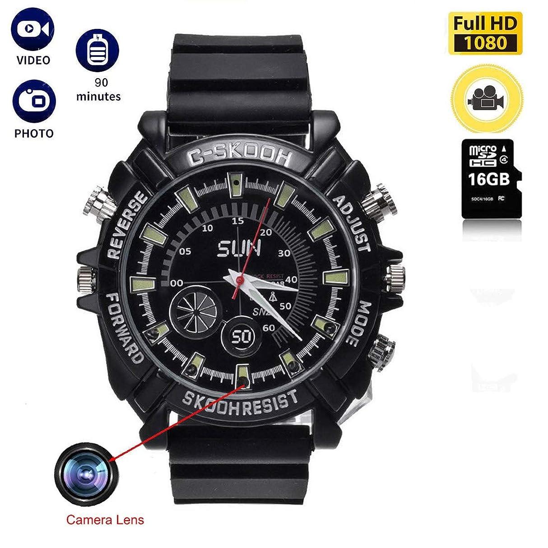 酒電気陽性抱擁HD 1080P隠しカメラ?小さなレンズを隠す メモリー 腕時計 16GBの撮影付きの腕時計は防水や夜視の多機能を持ち?単独小型録音 防犯 日本語説明書付
