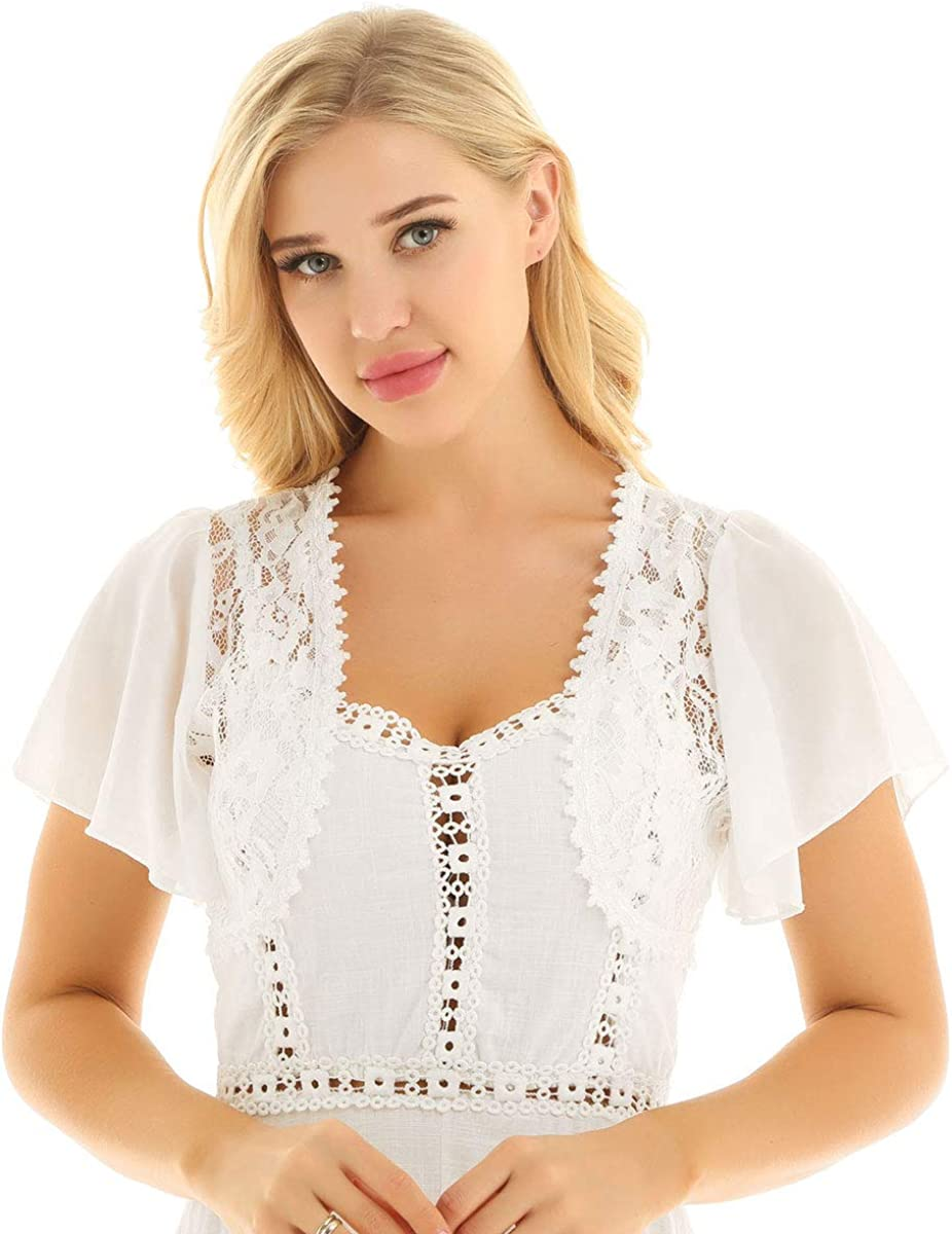 iEFiEL Womens Short Sleeve Lace Hollow Out Bolero Shrug Open Front Cardigan Top