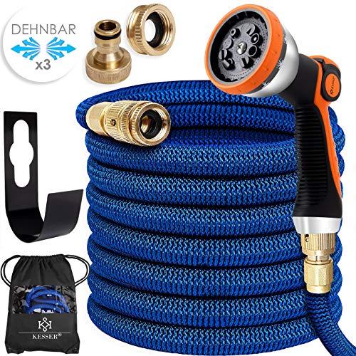 KESSER® Premium Flexibler Gartenschlauch | 7,5m ausgedehnt | + Wandhalterung | Wasserschlauch flexibel mit 3-Fach Latexkern | dehnbarer flexiSchlauch | Verschraubungen aus hochwertigem Messing, Blau