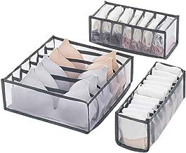 XIYAO 3PCS Organisateur de Tiroir de Sous-vêtements, Boîtes de Rangement pour Culottes Organisateurs d'armoires Armoire Pe...