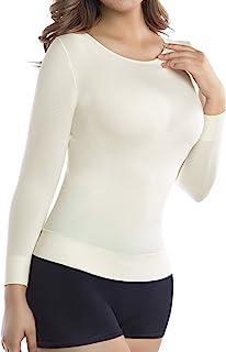 قميص +MD نسائي ضيق 3/4 أكمام طويلة ورقبة مستديرة أساسية لباس داخلي حراري