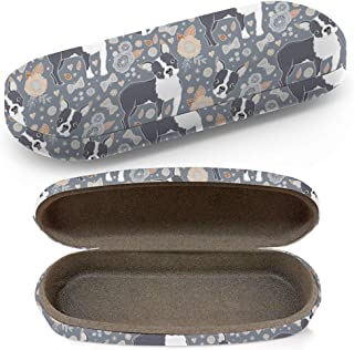 Hard Shell Glasses Protective Case with Cleaning Cloth for Eyeglasses and Sunglasses - Boston Terrier Beautiful Flowers