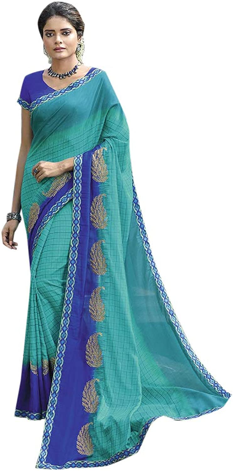 bluee Ethnic Party wear Fancy Saree Women Sari with Blouse piece Indian Designer collection 7807