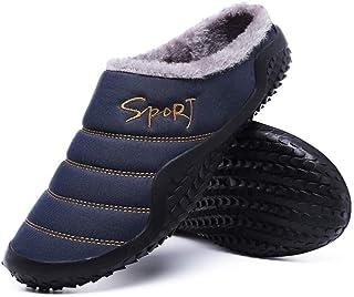 Asifn Chaussons Homme Femme Hiver Pantoufles Chaud Coton Peluche intérieur Extérieur Maison Imperméables Chaussures