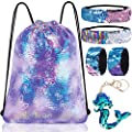 Mermaid Reversible Sequin Drawstring Backpack/Bag Clear Iridescent Sequin+ Butterfly Shape Spotted Purple Fabric for Kids Girls