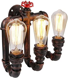 LMDH Industrial Wall Sconce 3-Light Steampunk Wall Lamp Water Pipe Wall Light Fixture Wall Mounted Lighting in Antique Bronze Finish