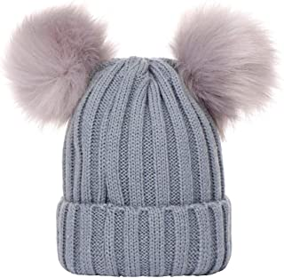 LENXH Double Hair Ball Warm Knit Hat Fashion Casual Cotton Hat Solid Color Pullover Hat Autumn Winter Hat