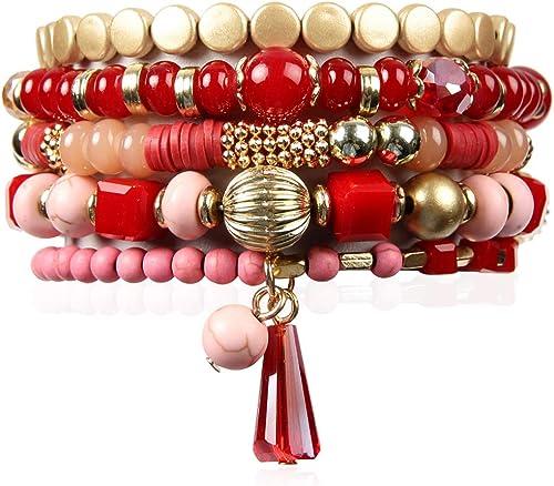 RIAH FASHION Bohemian Mix Bead Multi Layer Versatile Statement Bracelets - Stackable Beaded Strand Stretch Bangles Sp...
