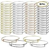UPINS 60 Pcs Expandable Bangle Bracelets Adjustable Wire Bracelets, Blank Bangles for DIY Jewelry Making