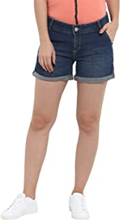 KVL Womens Cotton & Elastane Woven Solid Denim Shorts- Blue