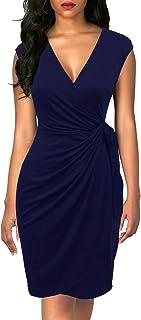 Berydress Women's Classic Cocktail Party Cap Sleeve Deep V Neck Draped Waist Tie Belt Knee-Length Faux Wrap Dress