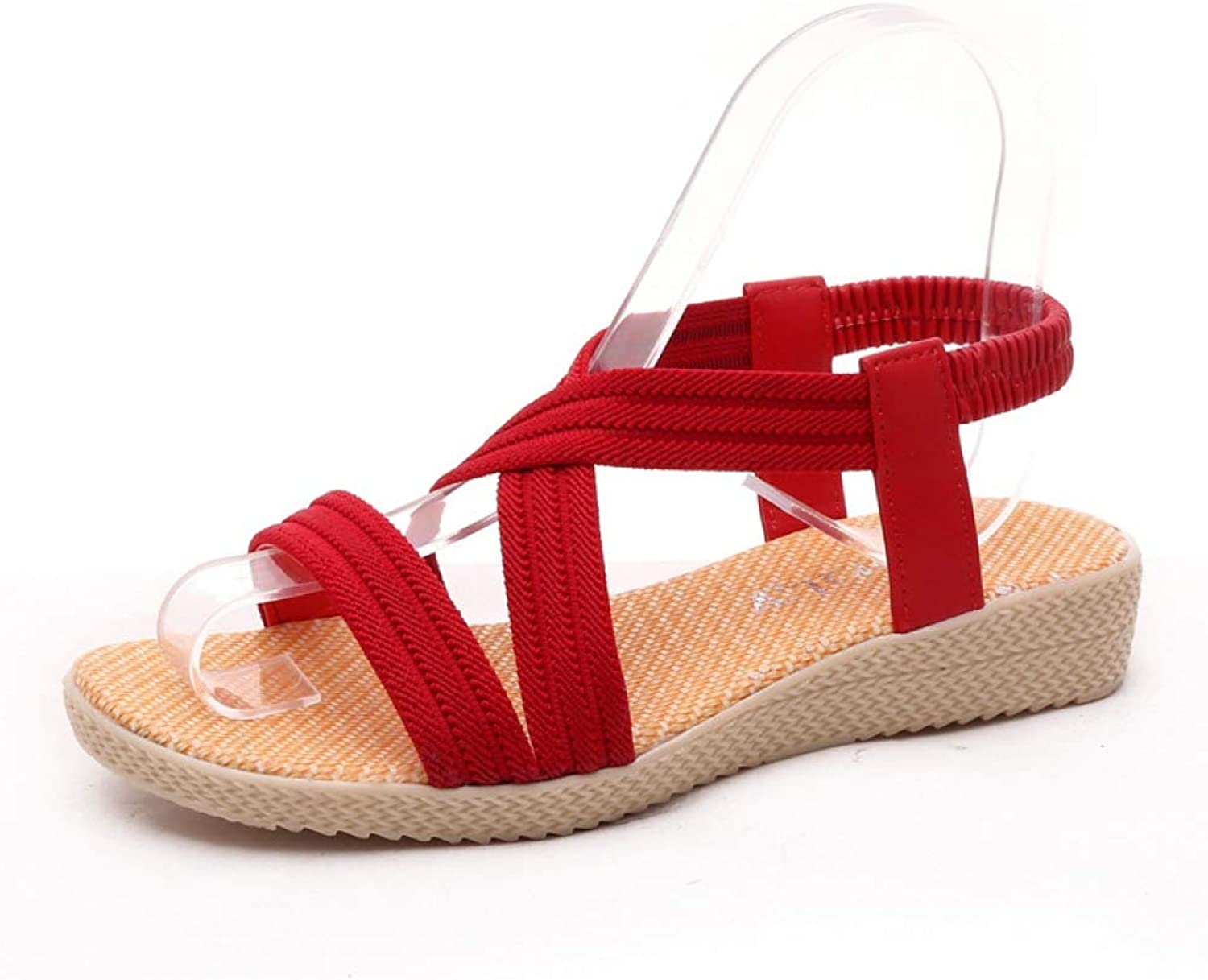 Btrada Women Summer Flat Sandals Solid color Leisure shoes Female Simple 5 color Cross-Tied Fashion Footwear