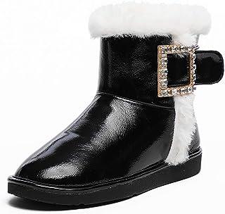 Dames Warme Snow Boots Waterdichte Mid-Tube Winterlaarzen Antislip Warm Bont Gevoerde Sneeuwwandelen Schoenen Winter Flat ...