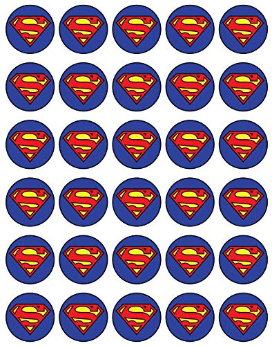 30 x Edible Cupcake Toppers Themed of Super Man Logo Collection of Edible Cake Decorations   Uncut Edible on Wafer Sheet