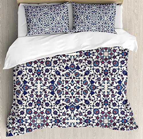 Juego de Fundas nórdicas orientales, diseño Floral marroquí con diseño Barroco rococó Victoriano, Juego de Cama Decorativo de 3 Piezas con 2 Fundas de Almohada, Crema índigo