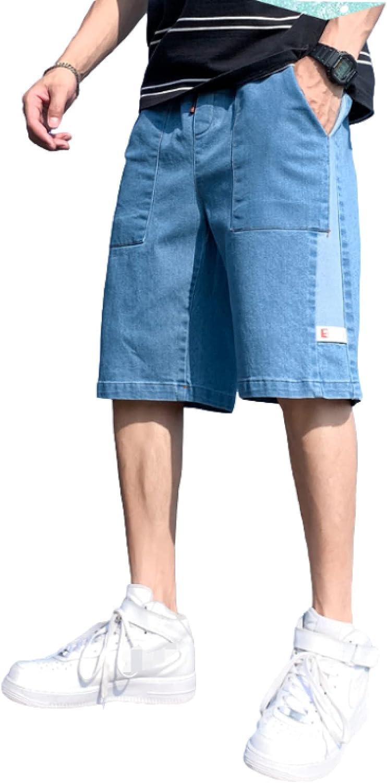 Katenyl Men's Stitching Patchwork Denim Shorts Fashion Loose Straight Trend Streetwear