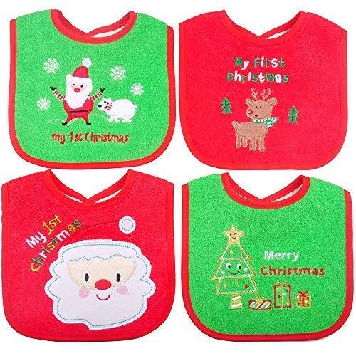 Bavoirs pour bébés de Noël, premiers cadeaux de Noël pour bébé,4 pièces bavoirs imperméables