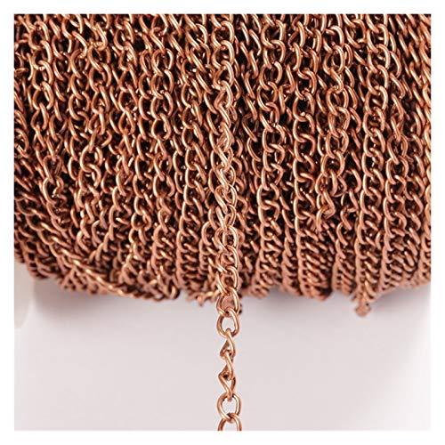 CHENGTAO 2m / Porción 2,5/3,5/4,5 Mm Cadenas Collar Plana DIY Cadena De Joyería Que Hace Fuentes (Color : Red Copper, Size : 4.5MM)