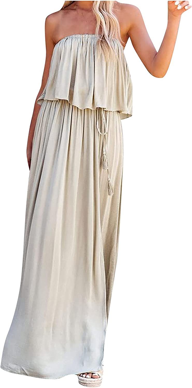 Summer Dresses Maxi Dress Women Casual Tube Top Backless Solid Split Fork Dress Bandage Skirt Suit Green