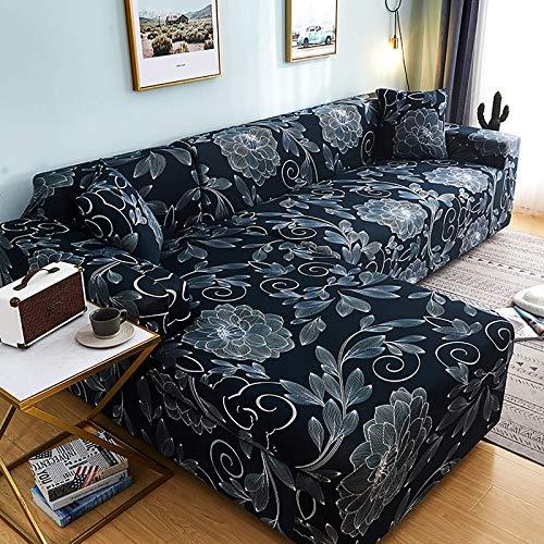 AGGF Fundas de sofá en Forma de L Funda de sofá seccional Universal 2 Piezas Fundas elásticas de 2 3 4 plazas + 2 Fundas de Almohada Funda de sofá Funda de sillón Suave y cómoda C, 235~300 + 23