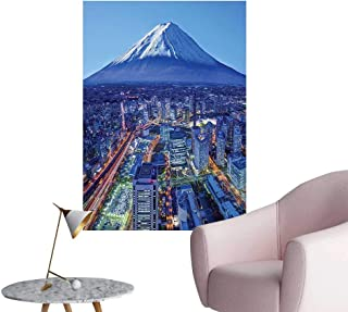 Wall Art Prints Skyline Mt. Fuji and Yokohama Financial District Mountain Volcano for Living Room Ready to Stick on Wall,32
