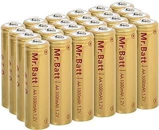 Mr.Batt NiCd AA Rechargeable Batteries for Solar Lights, 1000mAh 1.2V (24 Pack)