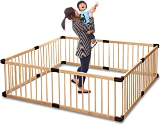 RiZKiZ 木製ベビーサークル 【ナチュラル】 8枚セット 高さ55cm 大きさ、形組み換え可能 簡単設置