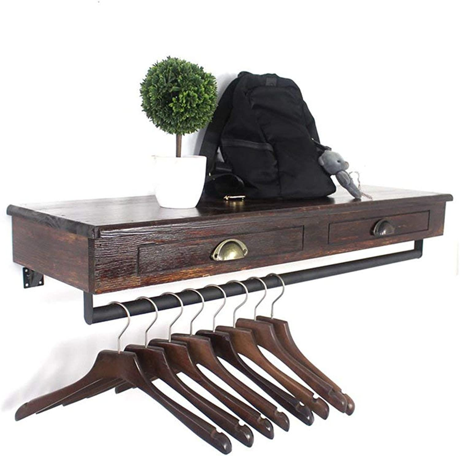 DYR Coat Rack Industrial Style Coat Rack Vintage Solid Wood Display Stand Iron Wall Wall Hanging Clothing Store Combined Display Rack 60CM, 80CM, 100CM, 120CM (Dimensions  60  30 cm)