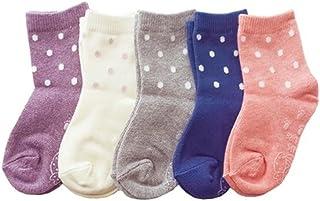 Baby Socks, Anti Slip, Polka dots, 5-Pack set for 1-3 Year Baby