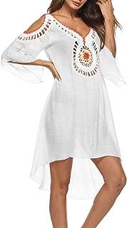SIAEAMRG SwimsuitCoverUpsforWomen, CrochetChiffon Off Shoulder Summer Beach CoverUp Dress, One-Size