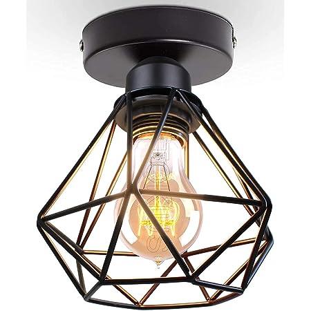 TOKIUS Plafonnier Industriel Vintage Luminaire E27 Rétro Lustre Suspension Design Métal Cage Ø160mm éclairage plafond Pour Salon Cuisine Chambre (1 pcs -A)