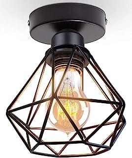 TOKIUS Plafonnier Industriel Vintage Luminaire E27 Rétro Lustre Suspension Design Métal Cage Ø160mm éclairage plafond Pour...