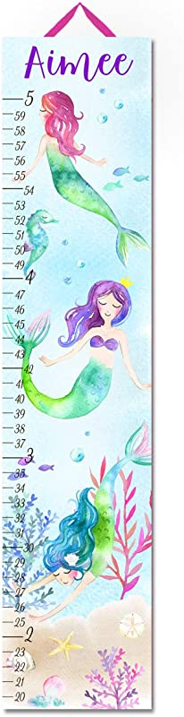 Toad And Lily Under The Sea Mermaids Growth Chart Kids Birthday Bedroom Nursery Personalized Kids Growth Chart Height Chart GC0481