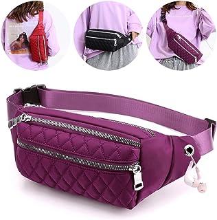 Voikukka Designer Fanny Pack Women Waterproof Fashion Travel Waist Bag Cool Belt Bag Quilted Crossbody Fanny Pack Purse, P...