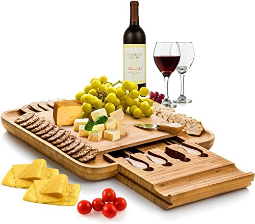 high quality Bamboo Cheese Board Set With Cutlery In Slide-Out Drawer lowest Including 4 Stainless Steel Serving Utensils - outlet online sale Perfect Charcuterie Board and Serving Tray for Entertaining or Gift Giving online sale