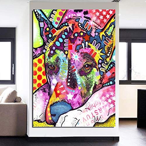 Geiqianjiumai Cute doodle dog Animal poster_Prints Pictures on Canvas_Nordic Style Poster Modular For Bedroom_Frameless painting 60X90cm