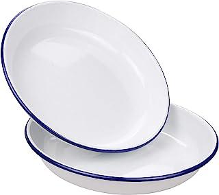 Webake 9.5 Inch Enamel Plates, 2 Pack Salad Pasta Bowls Enamelware Dinner Plates White Body with Blue Rim, Serving Trays f...