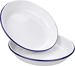 Webake 9.5 Inch Enamel Plates, 2 Pack Salad Pasta Bowls Enamelware Dinner Plates White Body with Blue Rim, Serving Tray fo...