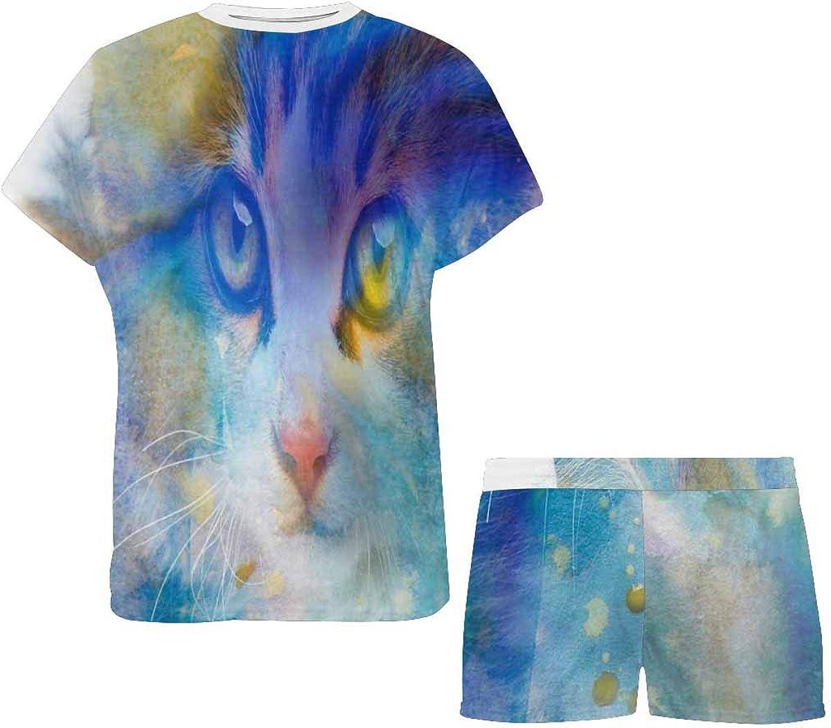INTERESTPRINT Cute Cat Watercolor Women's Pajamas Short Sets Round Neck Short Sleeve Sleepwear