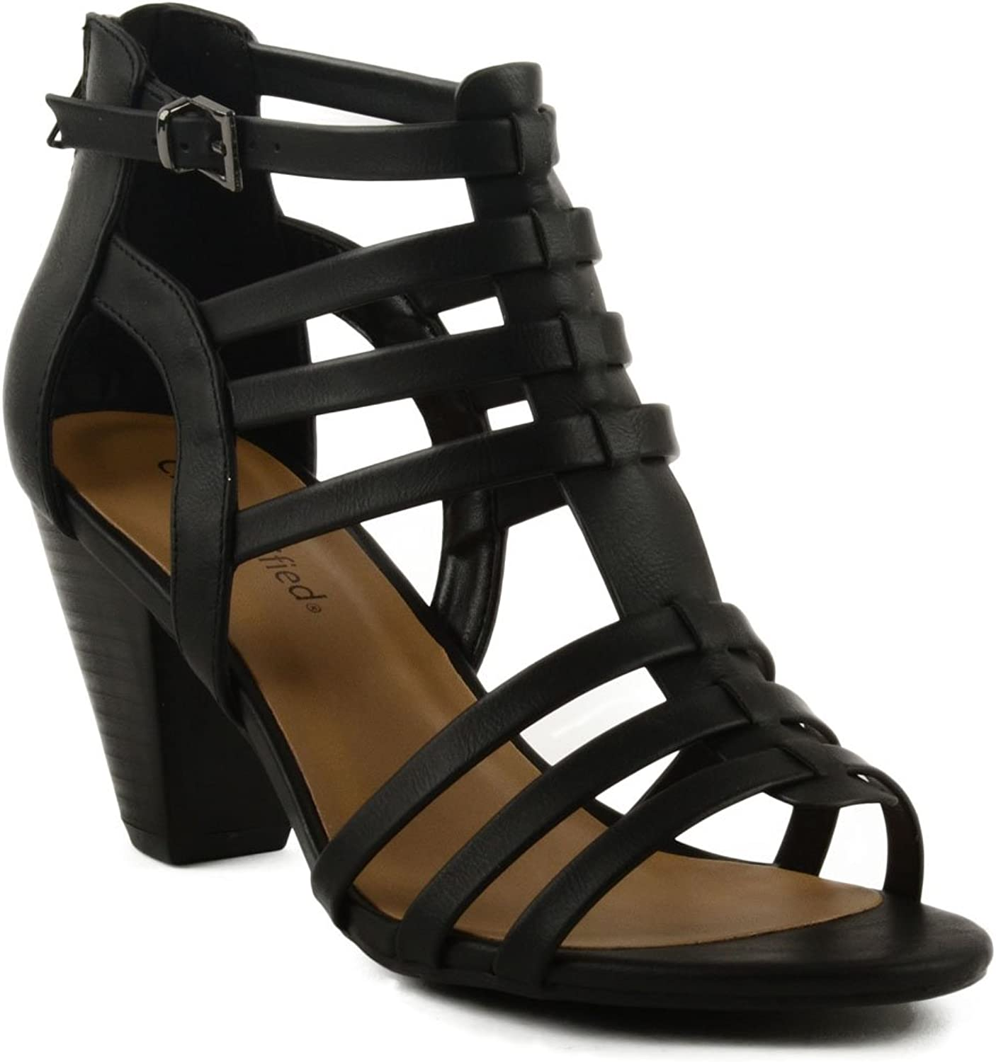 City Classified Women's City Classified Endora Tapered Block Heel With Weaved Straps & Zipped Back